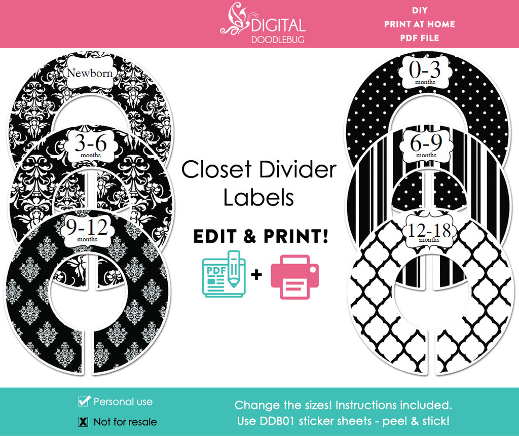 Black Damask Printable Closet Dividers