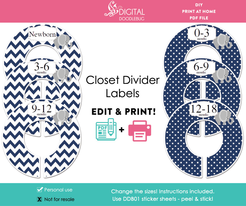 Navy Elephant Printable Closet Dividers
