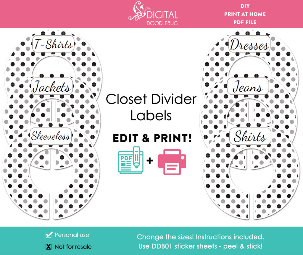 Black & Gray Polka Dot Printable Closet Divider Label Template