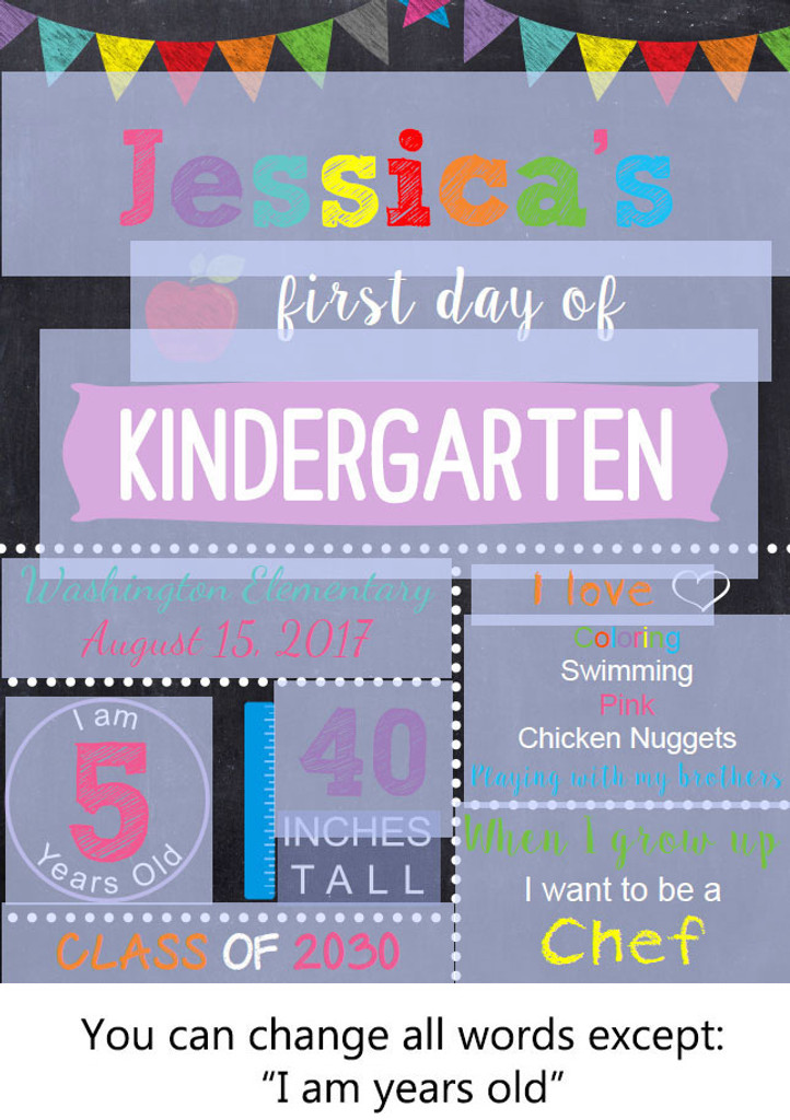 photo regarding First Day of Kindergarten Sign Printable identify Editable Women of all ages To start with Working day of College or university Signal Printable Poster