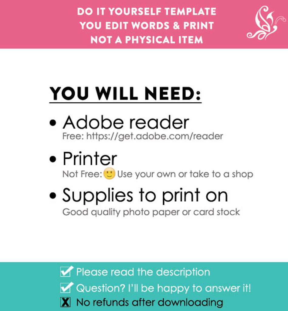 Editable Blue School Sign Printable Poster PDF & Corjl