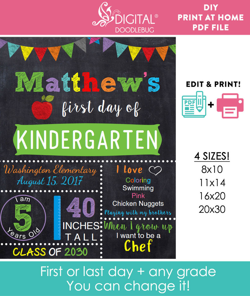 Editable Green School Sign Printable Poster