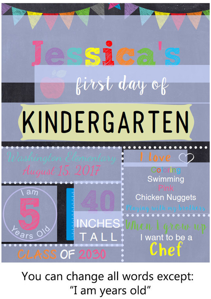 Editable Yellow School Sign Printable Poster