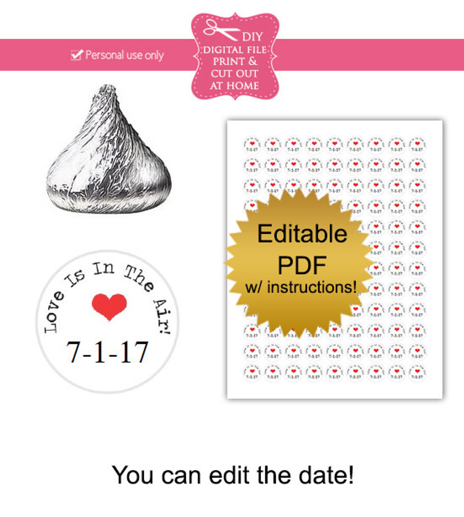 Wedding love is in the air Printable Candy Stickers