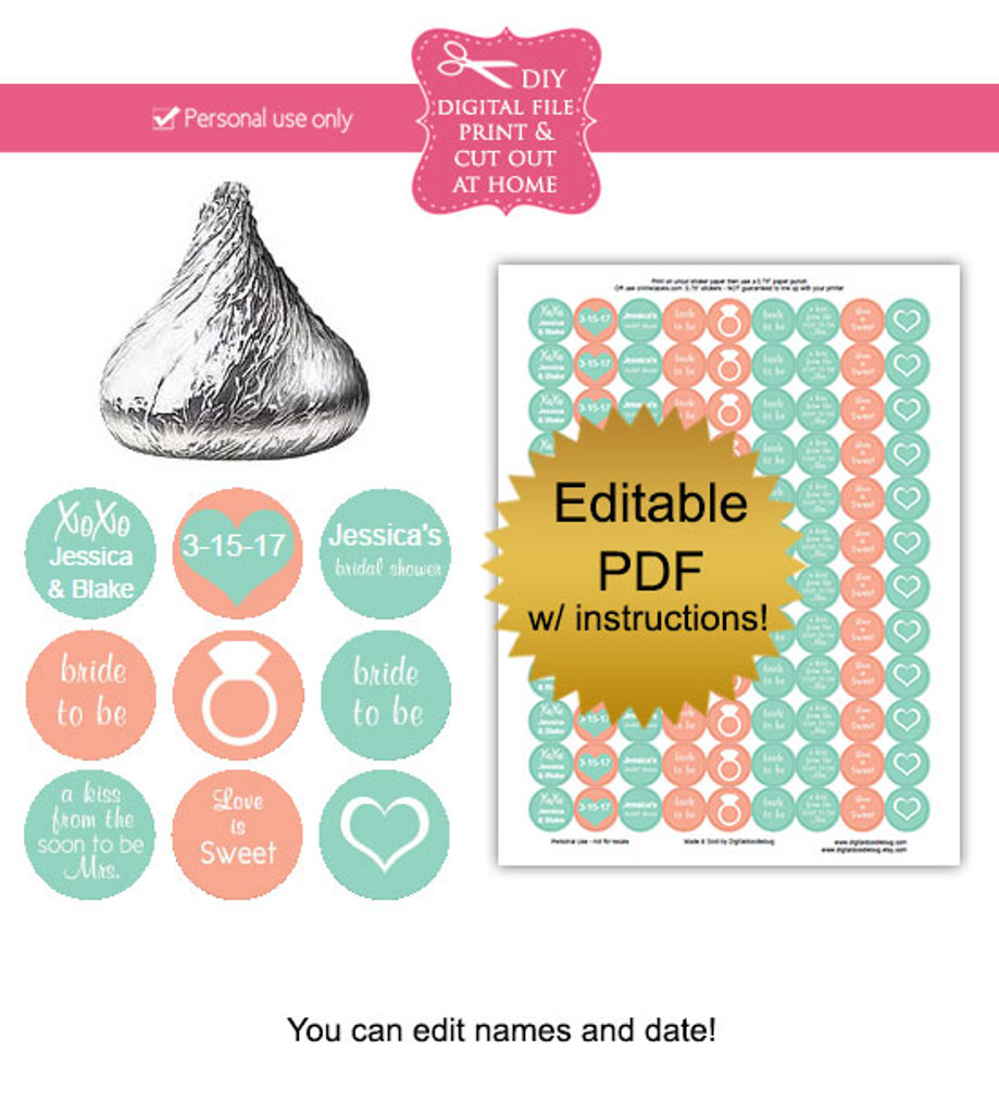 Bridal Shower Printable Candy Stickers