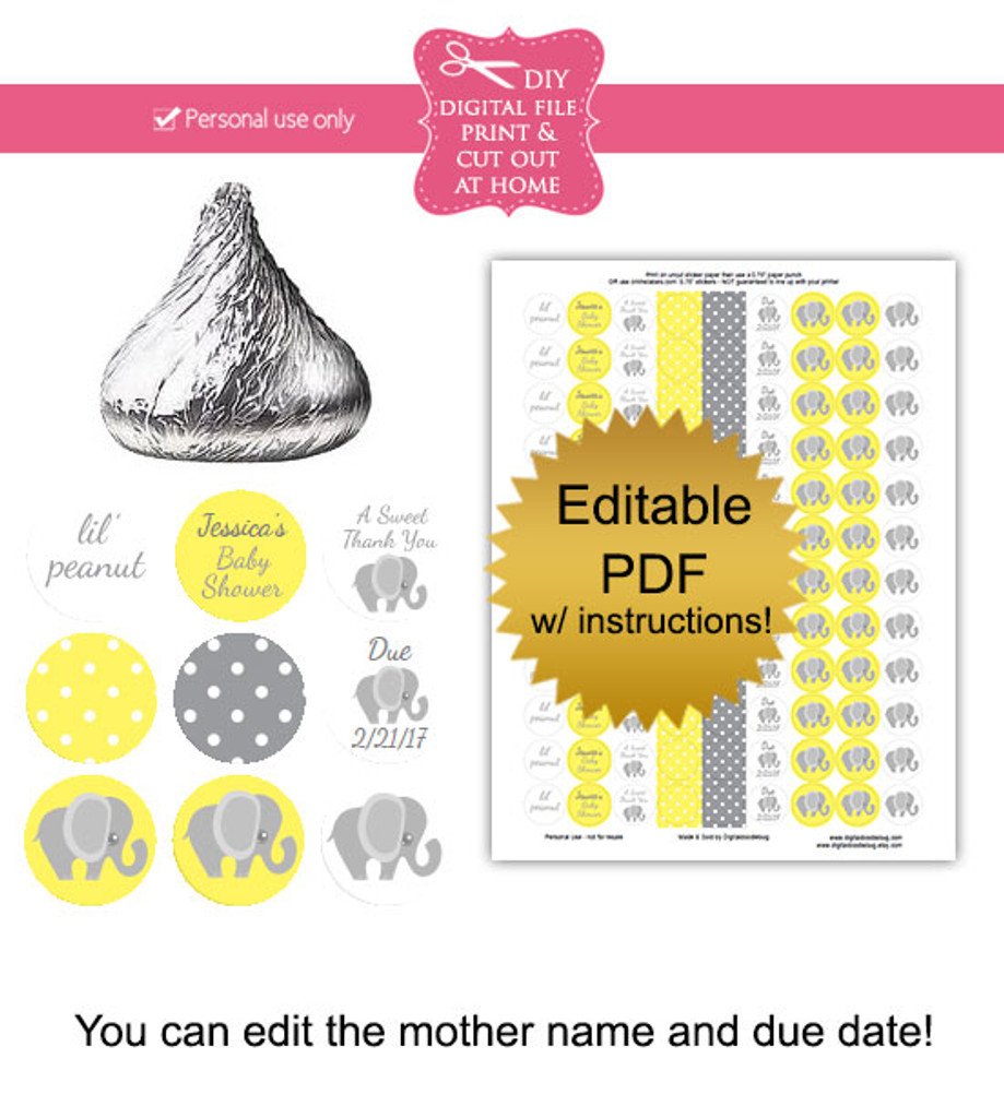 Yellow Elephant Printable Baby Shower Stickers
