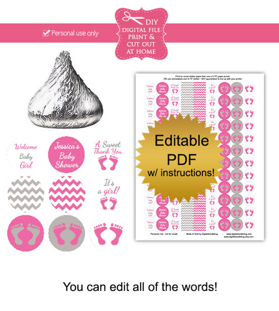 Pink & Gray Baby Footprint Printable Stickers