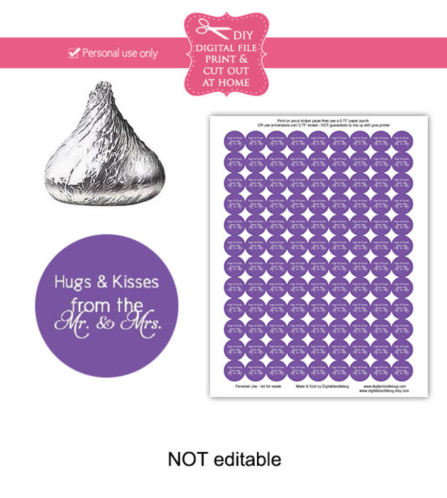 Purple hugs & kisses Printable Candy Stickers