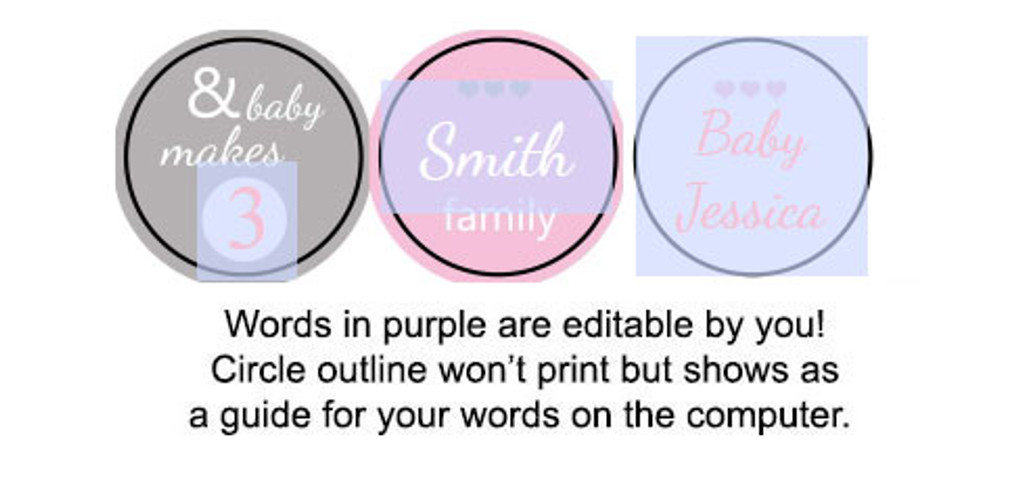 Girl And baby makes 3 Printable baby shower stickers