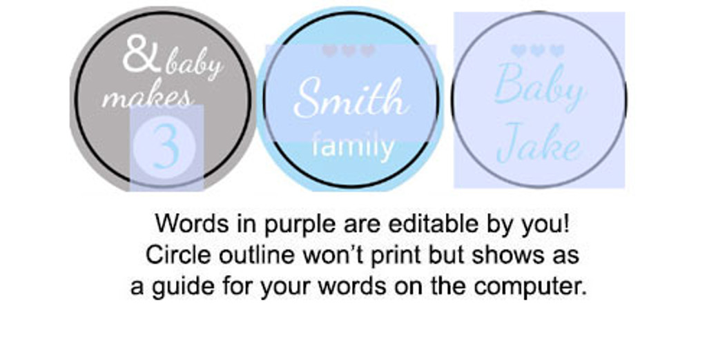 Boy and baby makes 3 Printable baby shower stickers