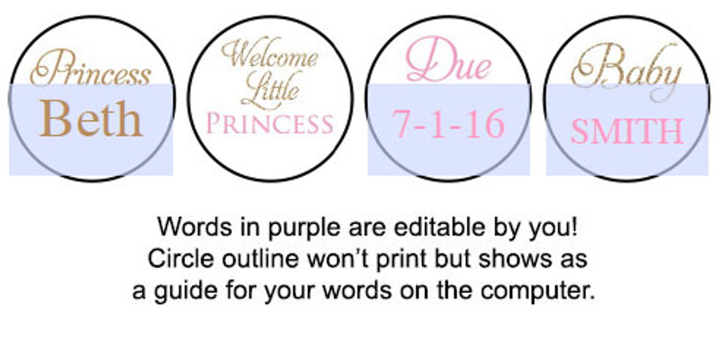 Princess Gold printable baby shower stickers