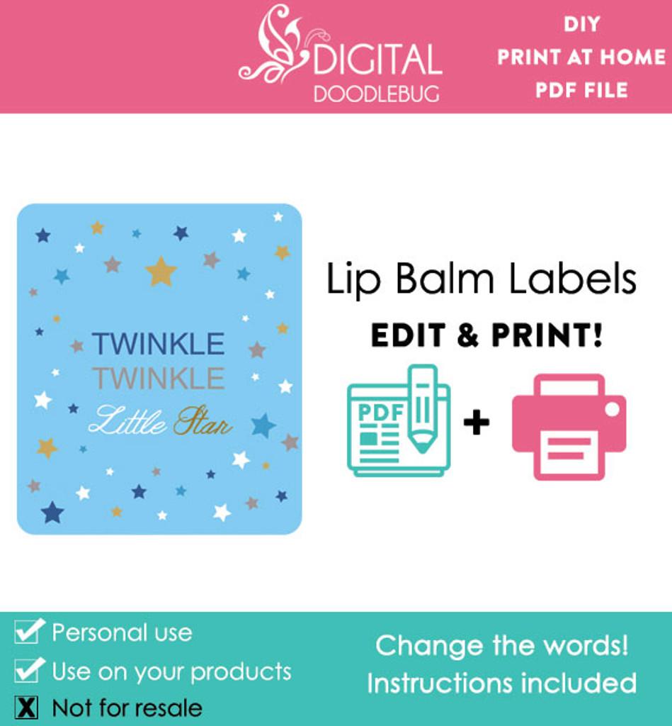 Twinkle little star printable lip balm label template PDF