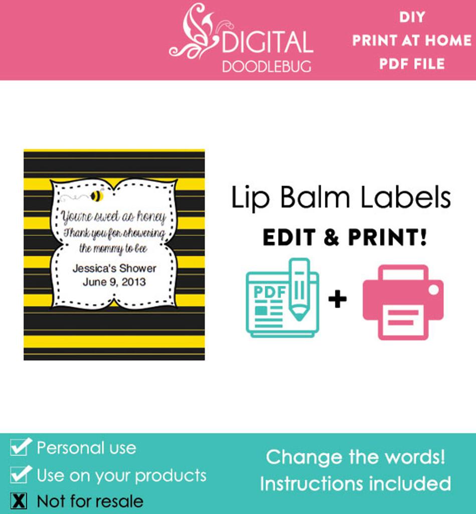 picture regarding Printable Lip Balm Label Template called Bee printable lip balm template labels tailored kid shower favors