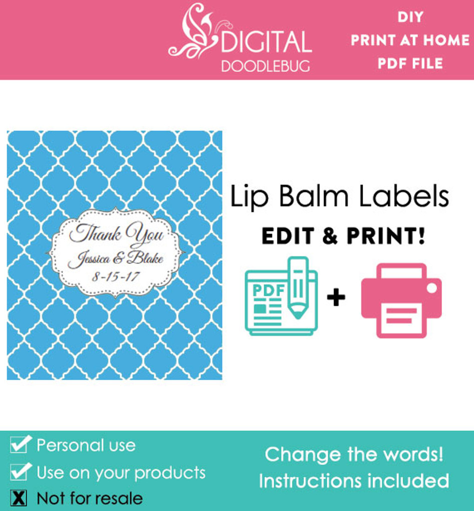 Blue Quatrefoil Printable Lip Balm Labels