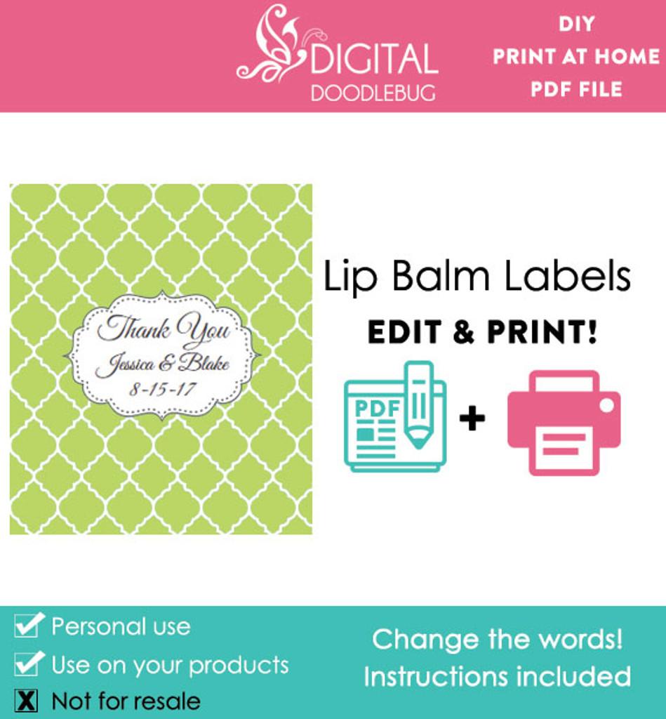 graphic regarding Printable Lip Balm Label Template known as Eco-friendly Quatrefoil Printable Lip Balm Labels