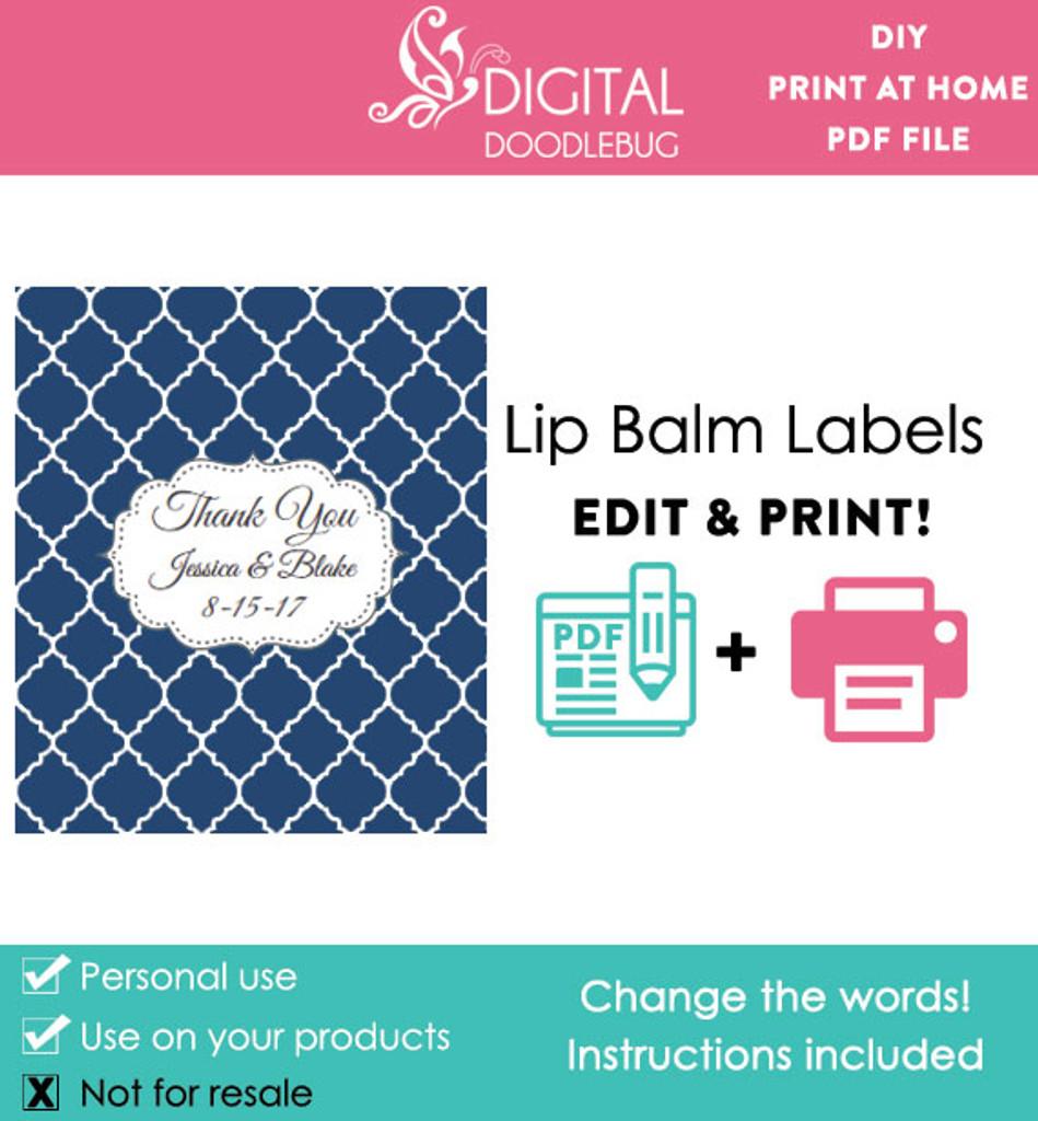 Navy Quatrefoil Printable Lip Balm Labels