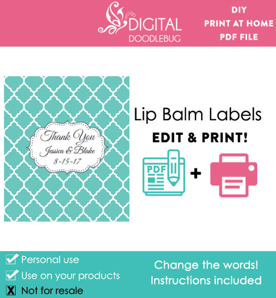 image about Printable Lip Balm Label Template called Teal Quatrefoil Printable Lip Balm Labels