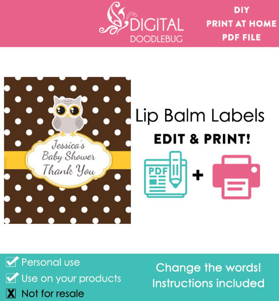 Gray Owl Printable Lip Balm Labels