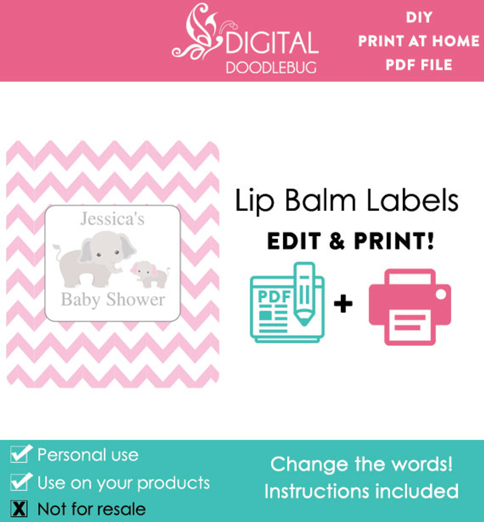Elephant Pink Printable Lip Balm Labels