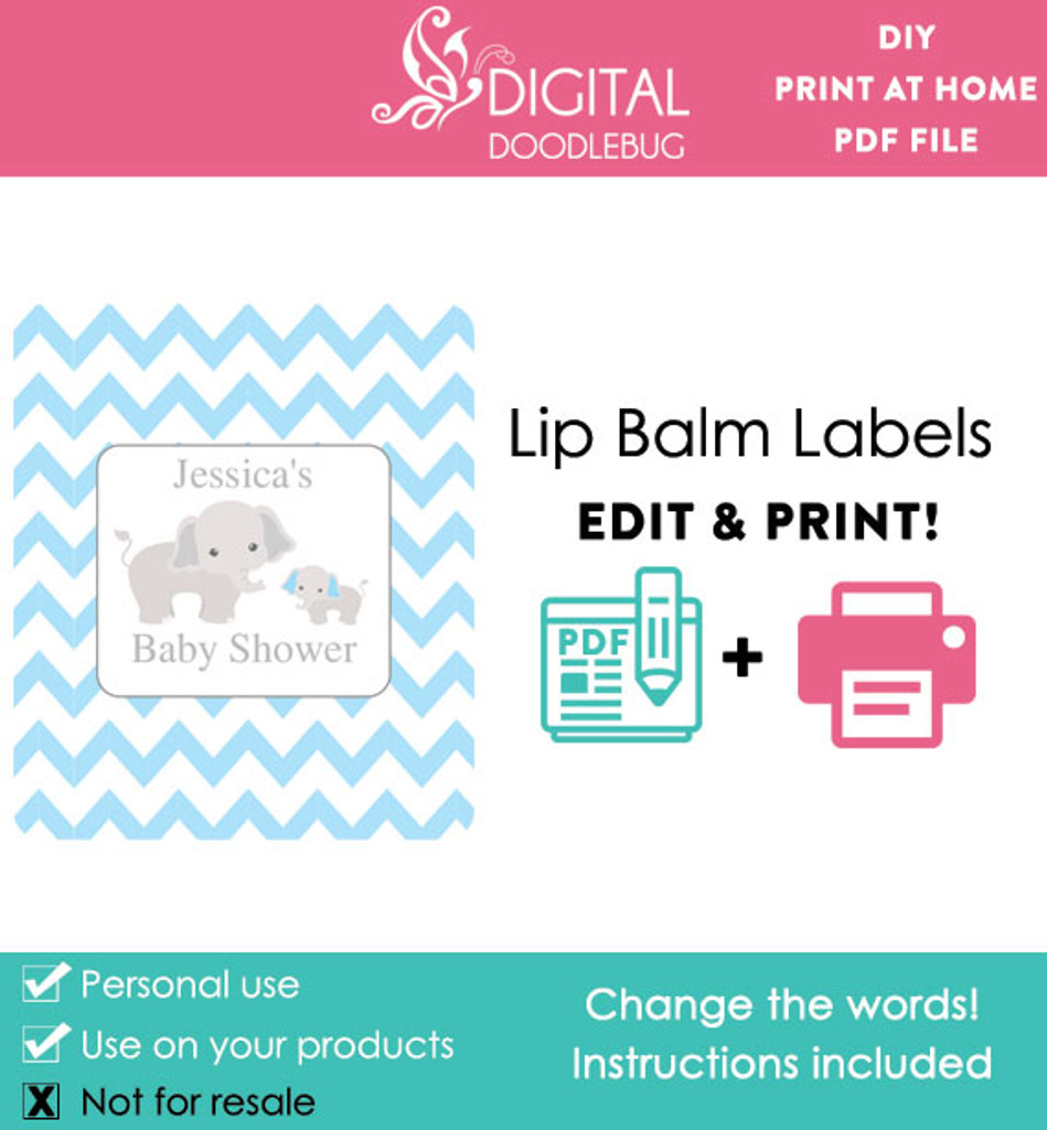 Elephant Blue Printable Lip Balm Labels