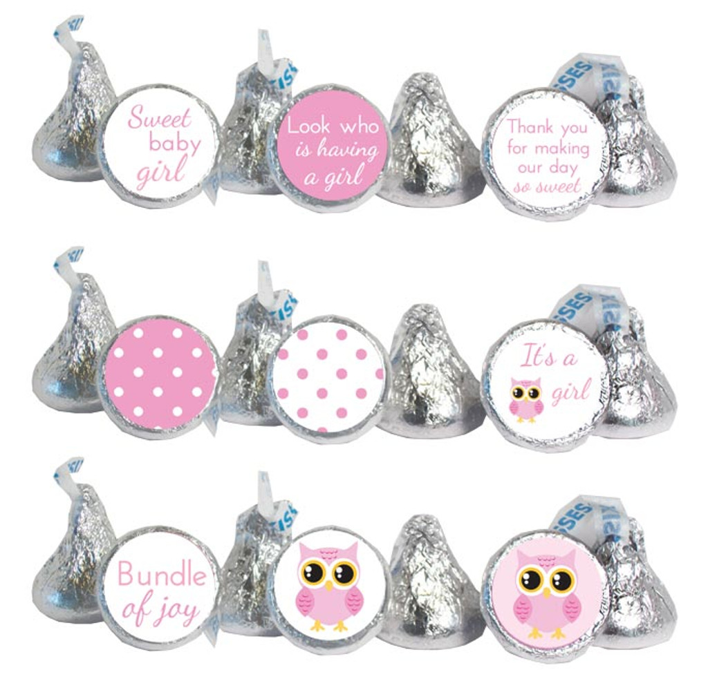 Girl owl Stickers that fit Hershey Kisses, Rolos, and water bottle lids