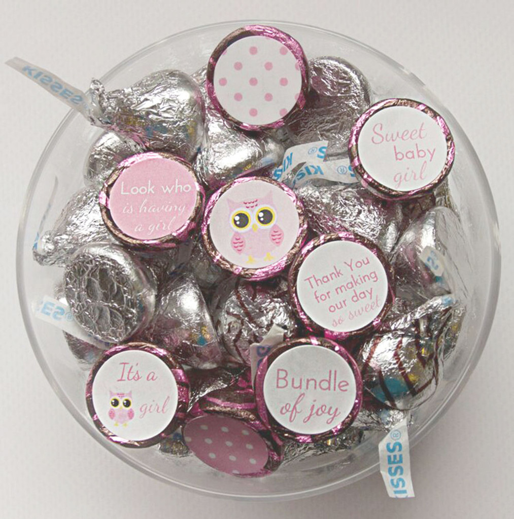 Owl theme girls baby shower favors DIY labels