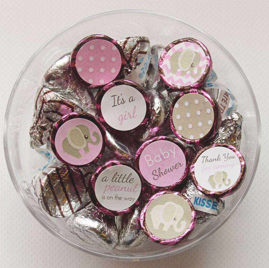 Pink elephant theme DIY baby shower favors for girl labels