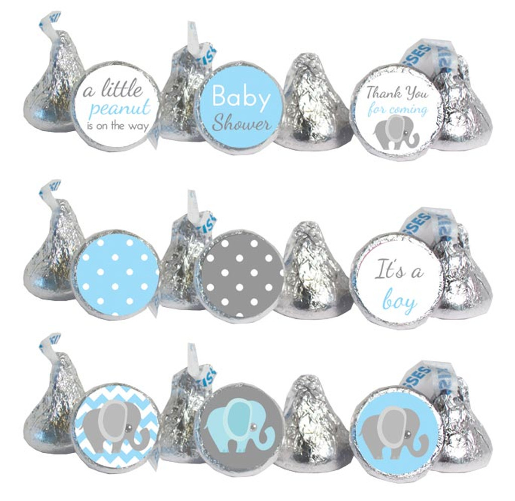 Blue elephant baby shower Stickers that fit Hershey Kisses, Rolos, and water bottle lids