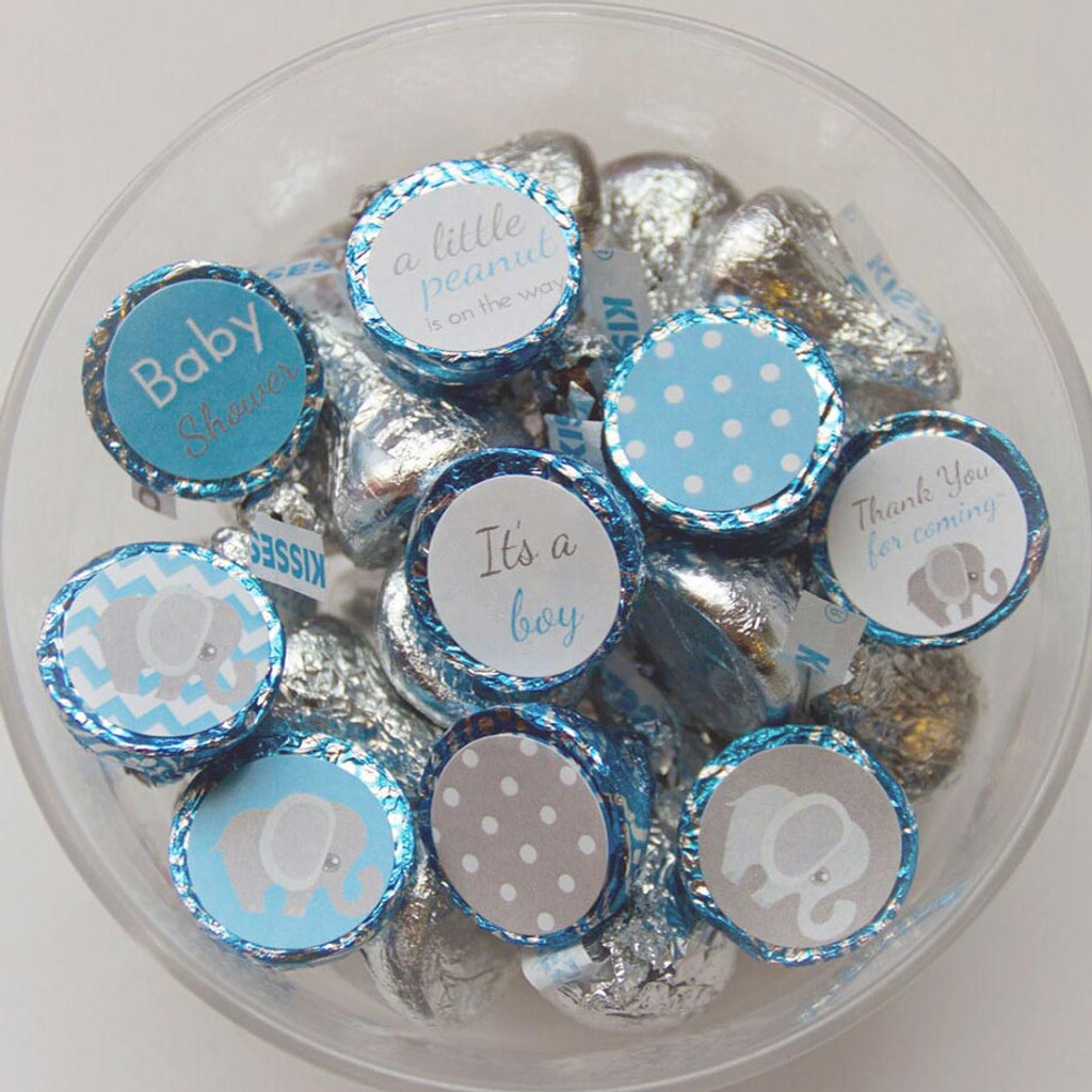 Blue elephant theme baby shower for boy DIY party favors labels