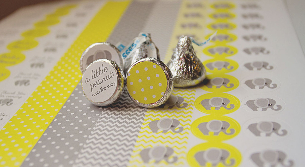 Yellow & Gray Elephant Mini Candy Stickers Baby Shower Favors 108 Labels