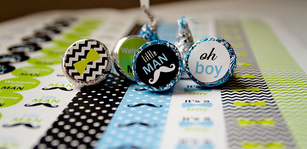Little Man Mini Candy Stickers Baby Shower Favors 108 Labels
