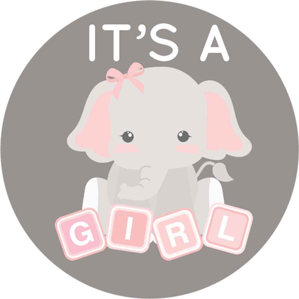 It's a girl baby shower stickers pink and gray elephant