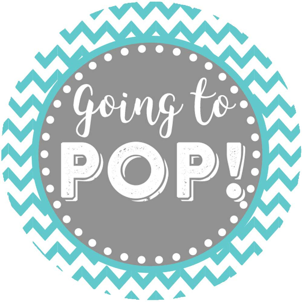 Going to pop popcorn baby shower favor stickers