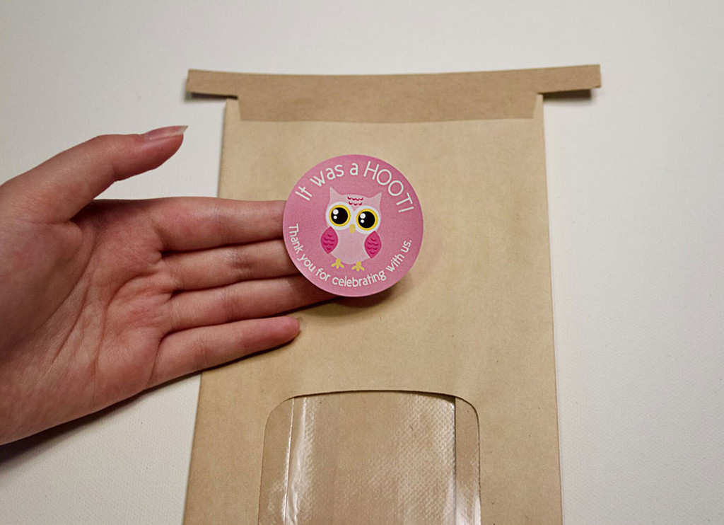 Pink Owl 2 Inch thank you stickers baby shower favors 20 Labels