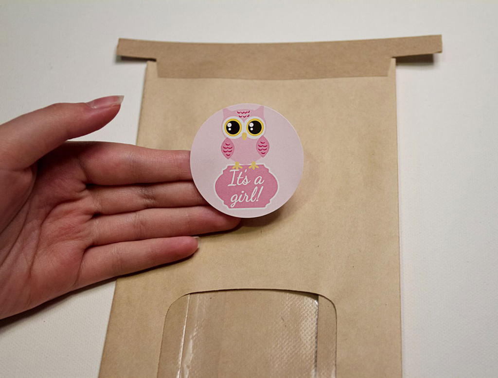 Pink Owl 2 Inch It's a girl stickers 20 Labels