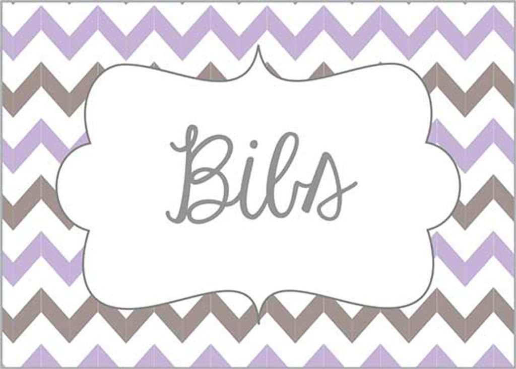 Purple & Gray chevron printable nursery drawer labels