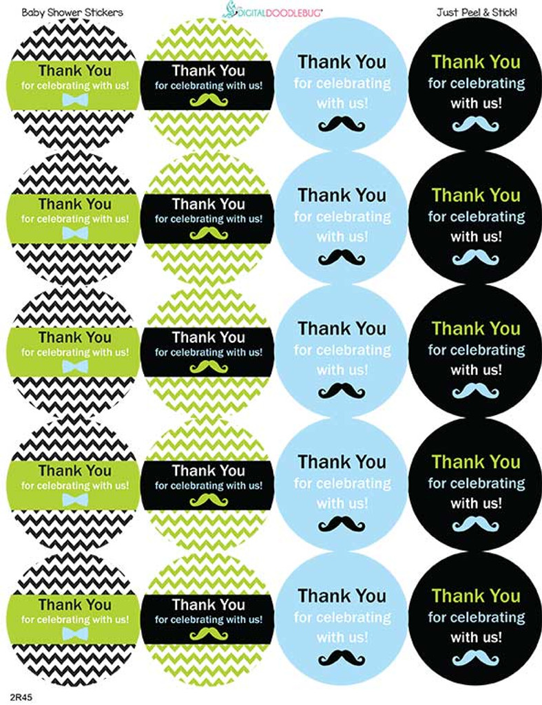 Little Man Mustache 2 Inch Thank You baby shower stickers 20 Labels