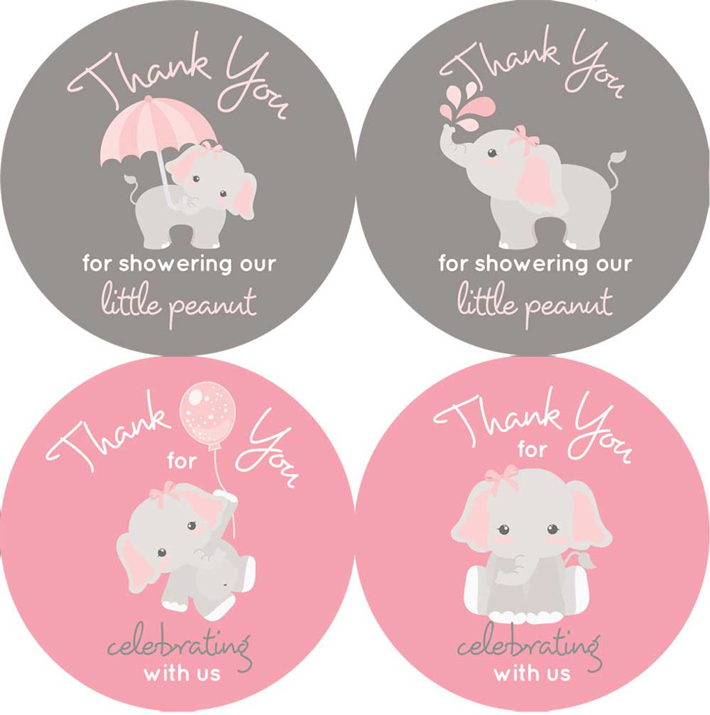 "2"" elephant baby shower stickers. Pink and gray for girls."