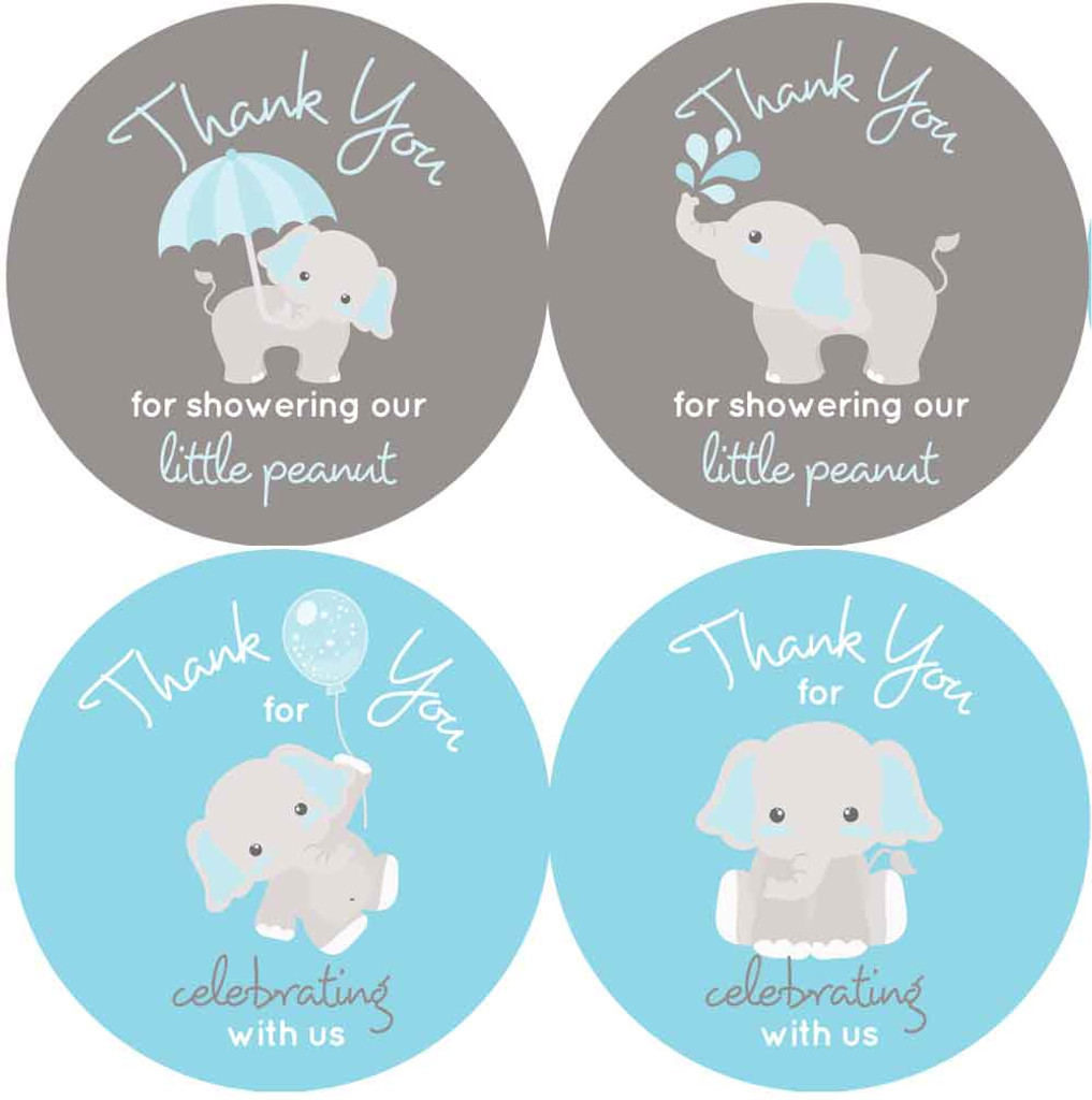 "2"" elephant baby shower stickers blue and gray thank you favors"