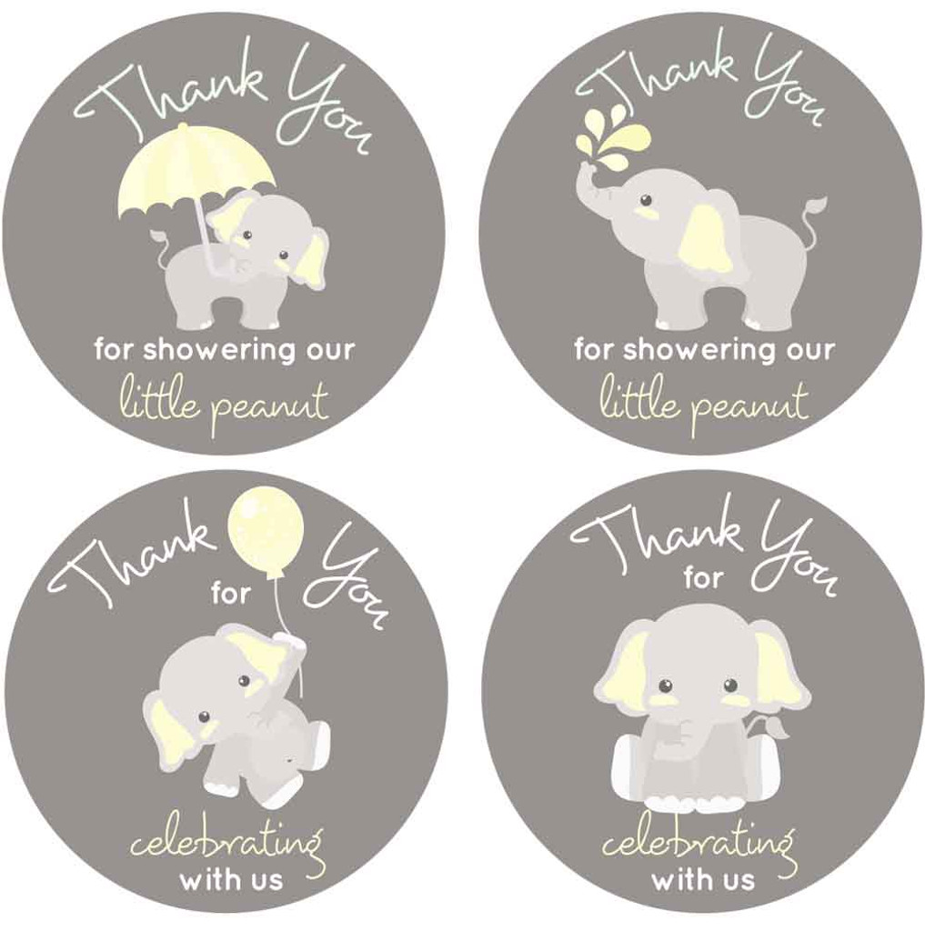 "2"" thank you for celebrating with us baby shower stickers"