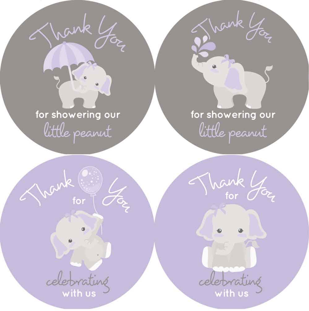"""2"""" elephant baby shower favor stickers. Purple and gray for girls."""