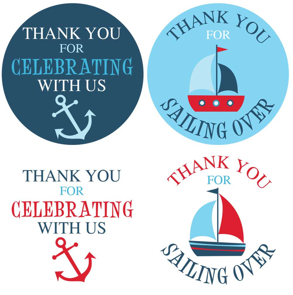 """2"""" nautical baby shower stickers in red, navy, and blue for boys"""