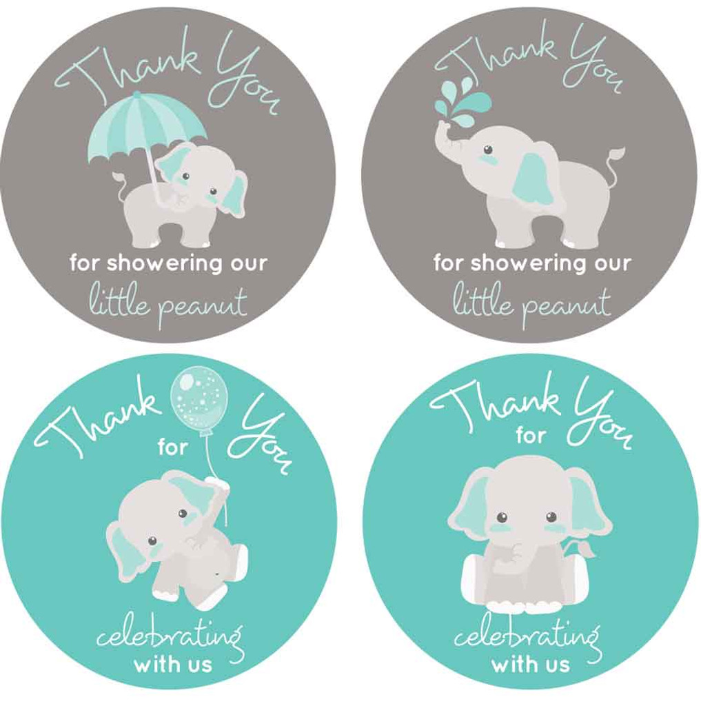 Aqua and gray elephant stickers
