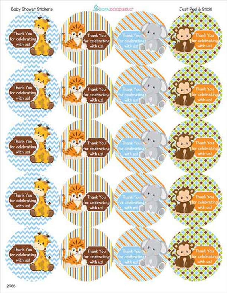 Cute safari animals precut on a sheet