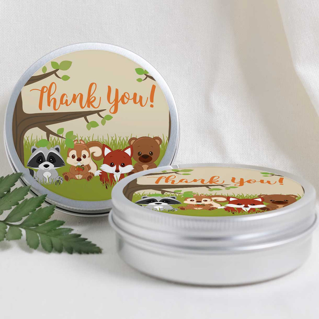 2 Inch Thank You stickers woodland animals 20 labels