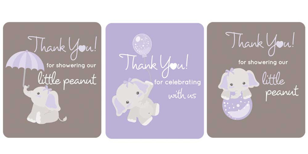 DIY elephant themed purple baby shower favors