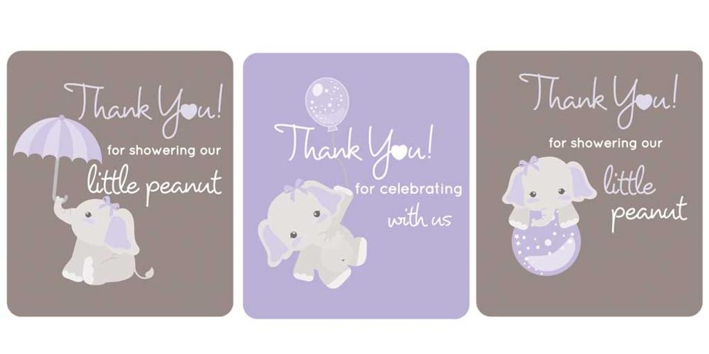 DIY elephant themed purple baby shower favors