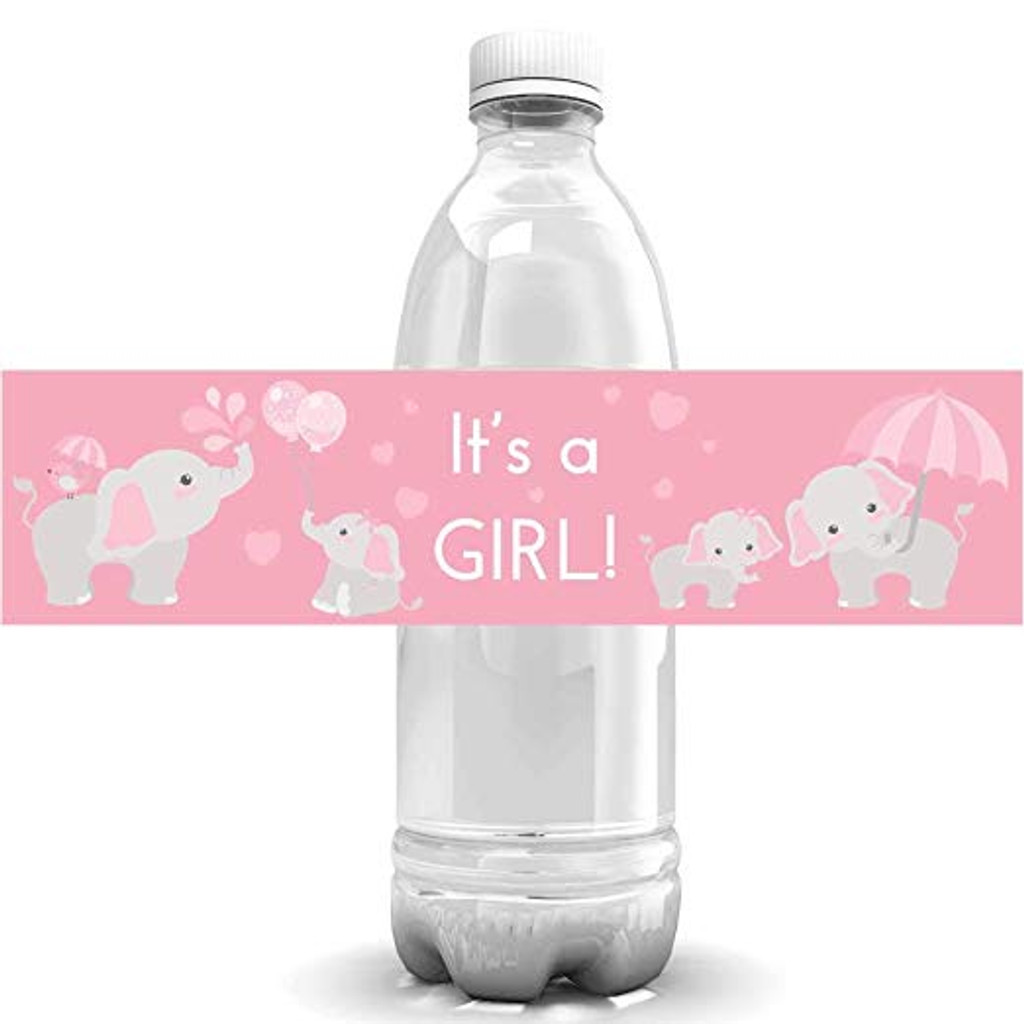 DIY baby shower favors for girl, pink elephant waterproof water bottle labels