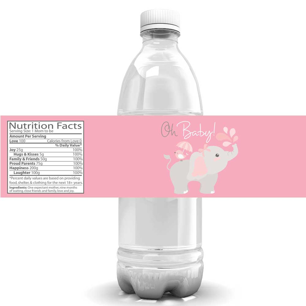 Water bottle labels pink elephant 4 stickers