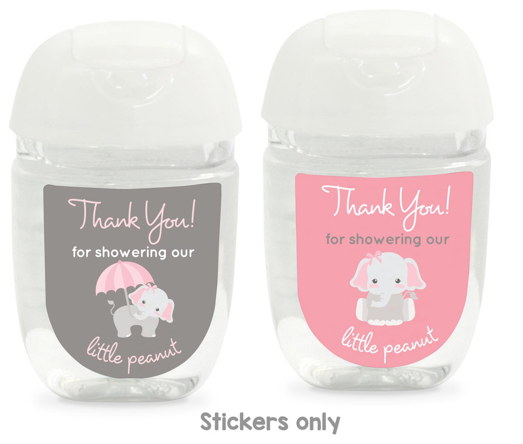 Hand Sanitizer labels pink elephant 30 stickers